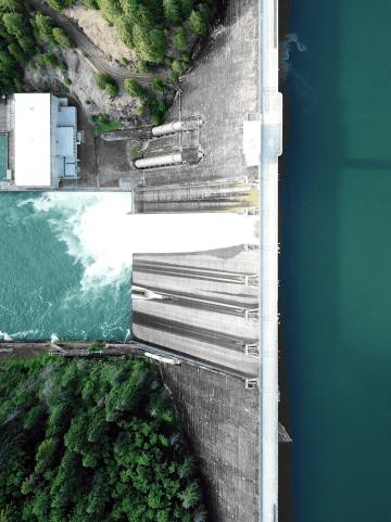 Wasserkraftwerk von oben