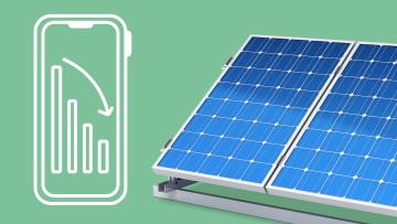 Smartphone mit Stromverbrauch und Solaranlage