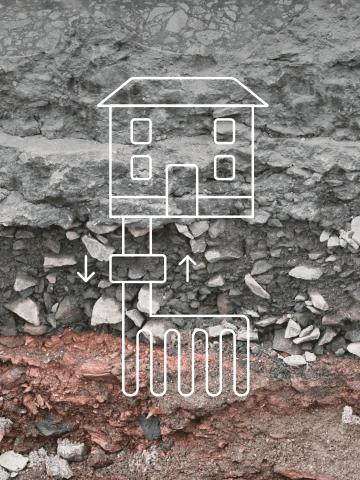 Haus mit Waermepumpe vor einzelnen Gesteinsschichten