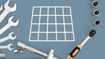 Werkzeug mit quadratischem Raster