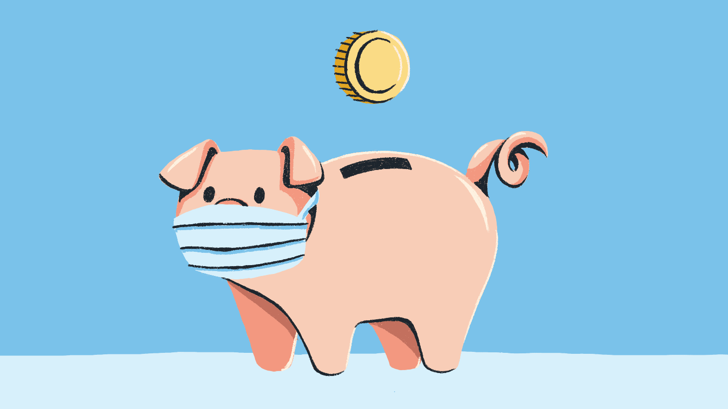 Illustration of a piggy bank wearing a medical mask and a coin dropping into the slot.