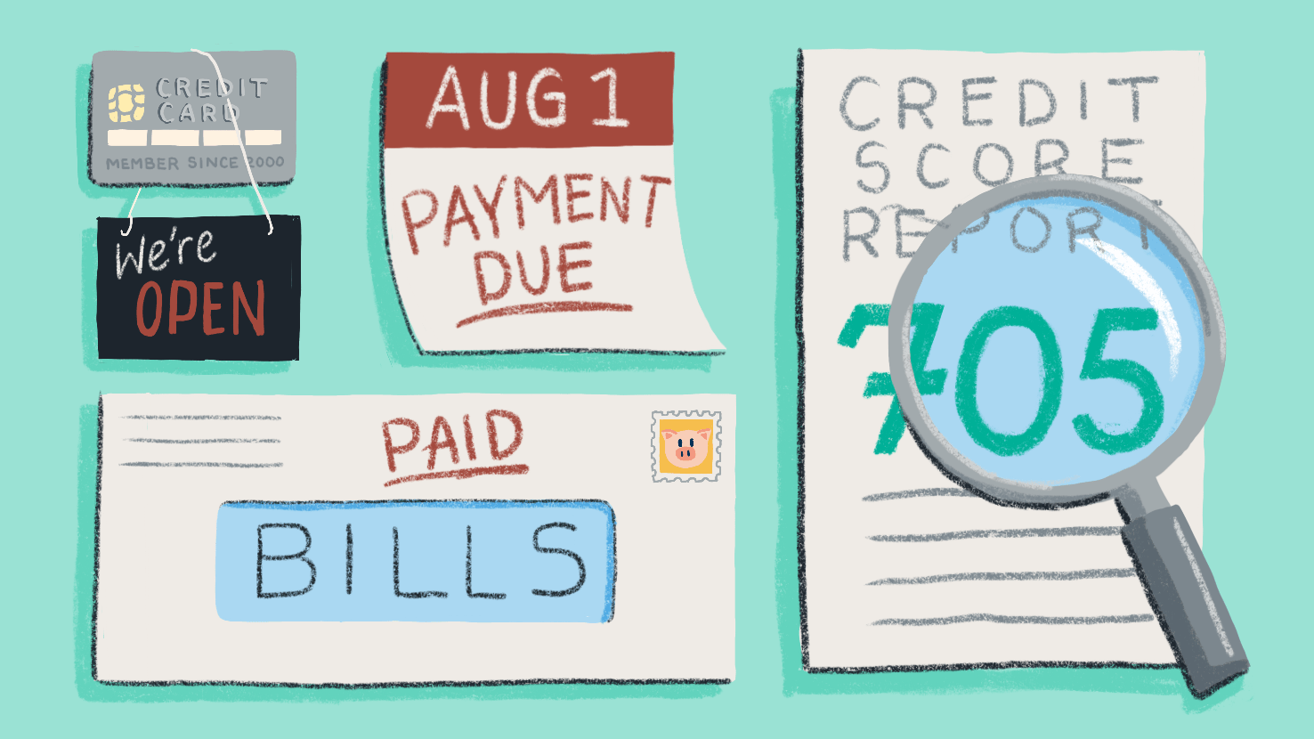 Illustration of a credit card, a bill, a calendar and a credit score report