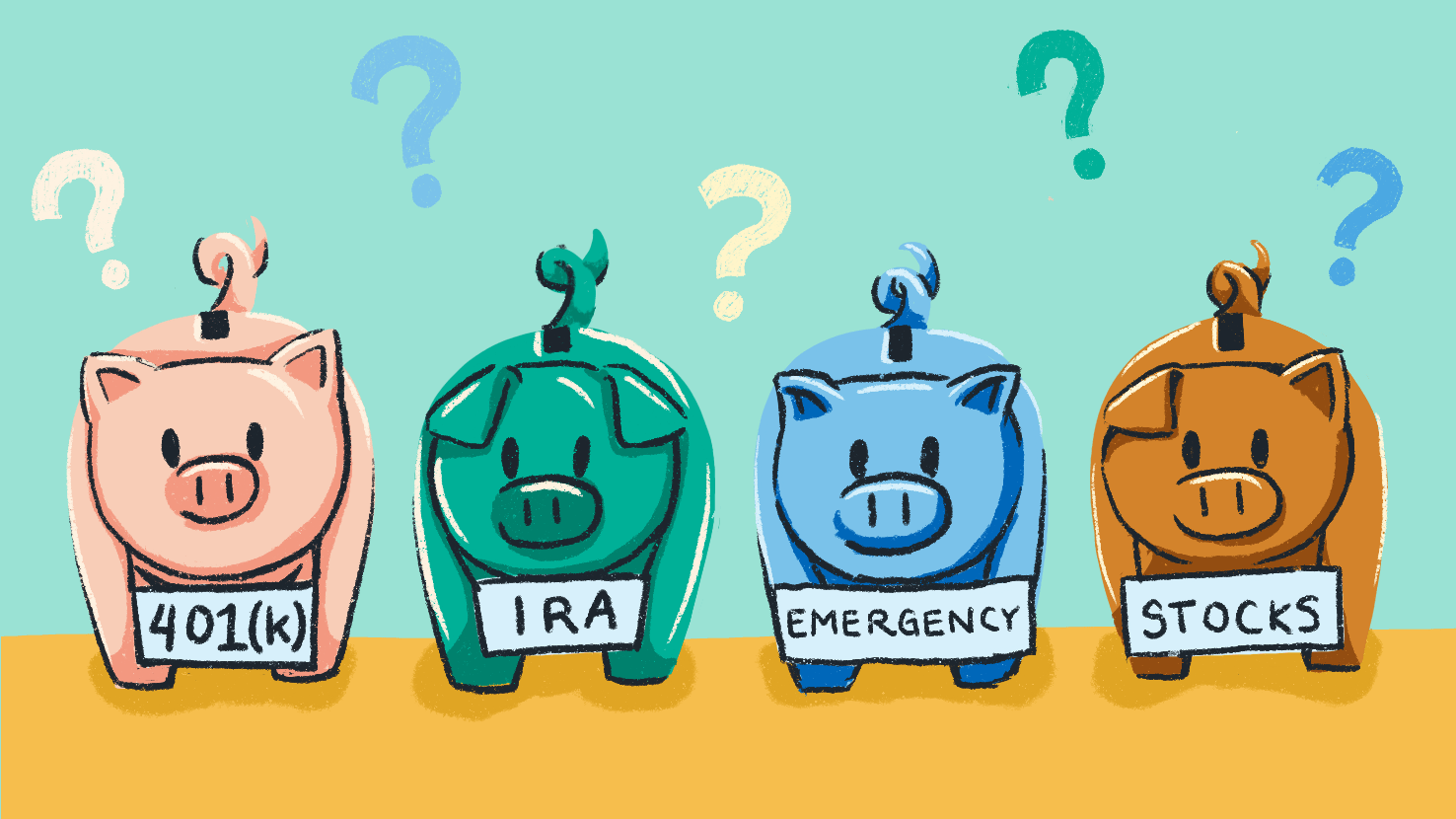 Four piggy banks each with a label representing a different form of investment set on a field of question marks