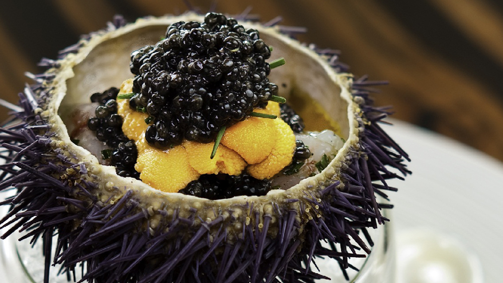 Waku Ghin-Marinated Botan Shrimp with Sea Urchin and Oscietra Caviar