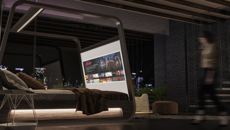 This New Bed Comes With a Built-in 70-Inch TV Screen to Make Your Binge-Watching Cinematic