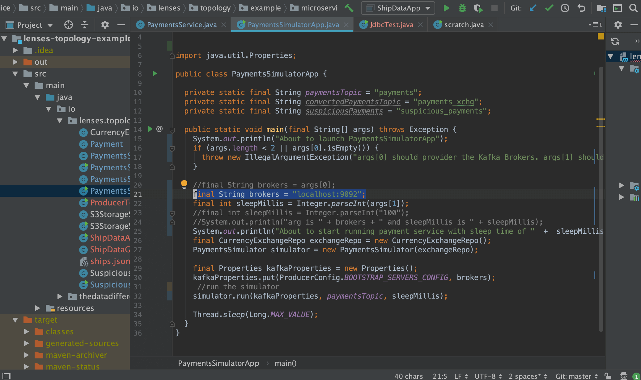 IntelliJ - Connecting consumer or producer client to Lenses.io Box localhost Apache Kafka broker