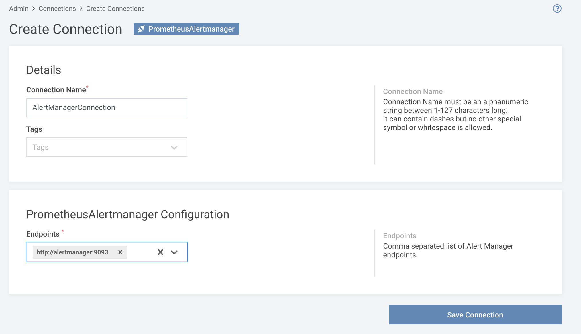 Creating a new Alertmanager connection
