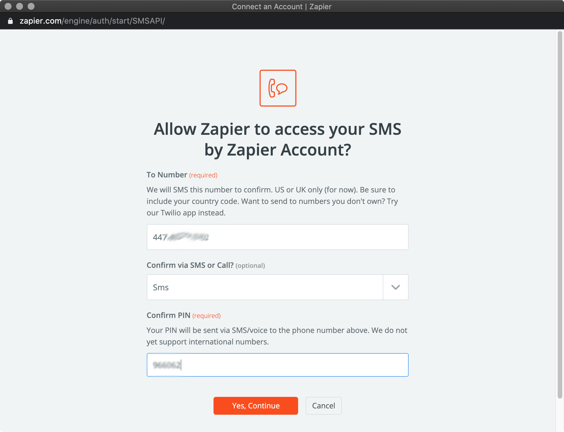 Send PIN back (Zapier)