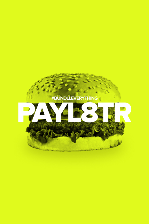 Burger with PAYL8TR text