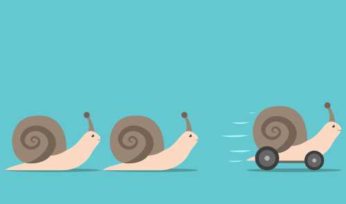 Snails racing, one has wheels
