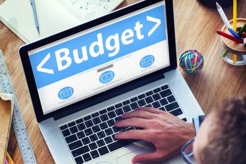 Laptop screen showing the word budget