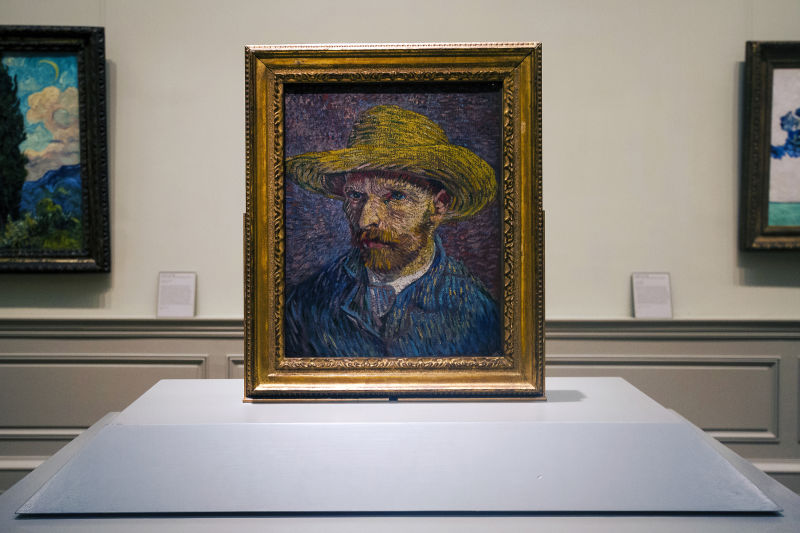 You'll see works by some of the Impressionists, like this self portrait by Van Gogh