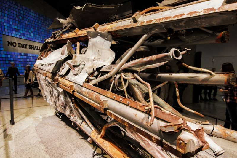 Part of one of the planes used in the 911 attacks, displayed inside the 911 Museum