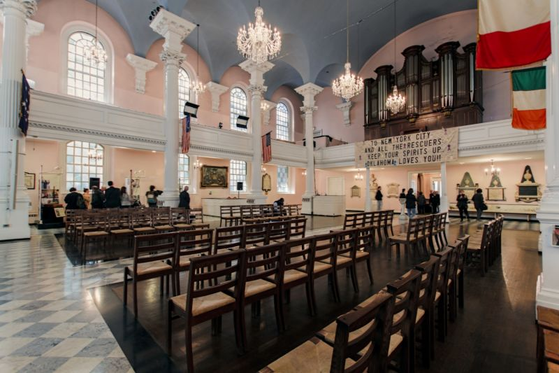 Inside St Paul's Chapel, where families came to pray in the immediate aftermath of 911