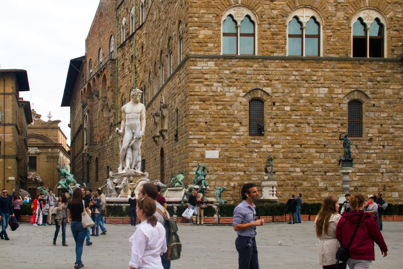 The Piazza della Signoria is festooned with beautiful statues