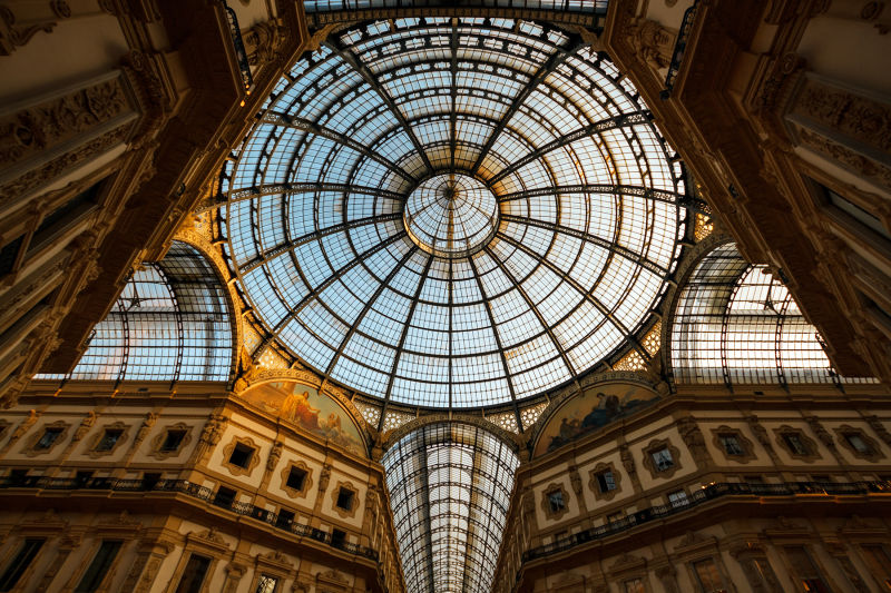 The beautiful domed ceiling of Galleria Vittorio Emmanuele II