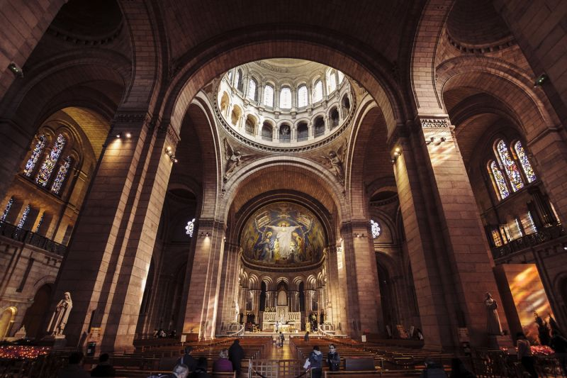 Inside the Sacre Coeur Basilica in Montmartre