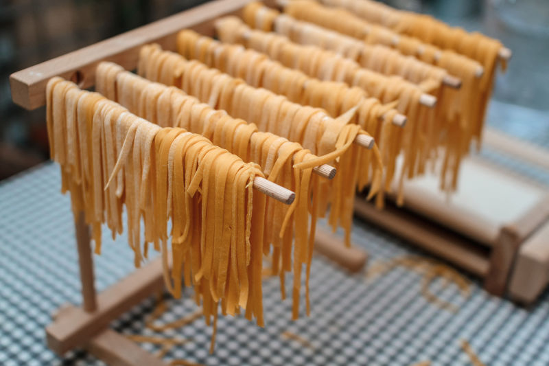 Even fresh pasta has a to dry for a while.