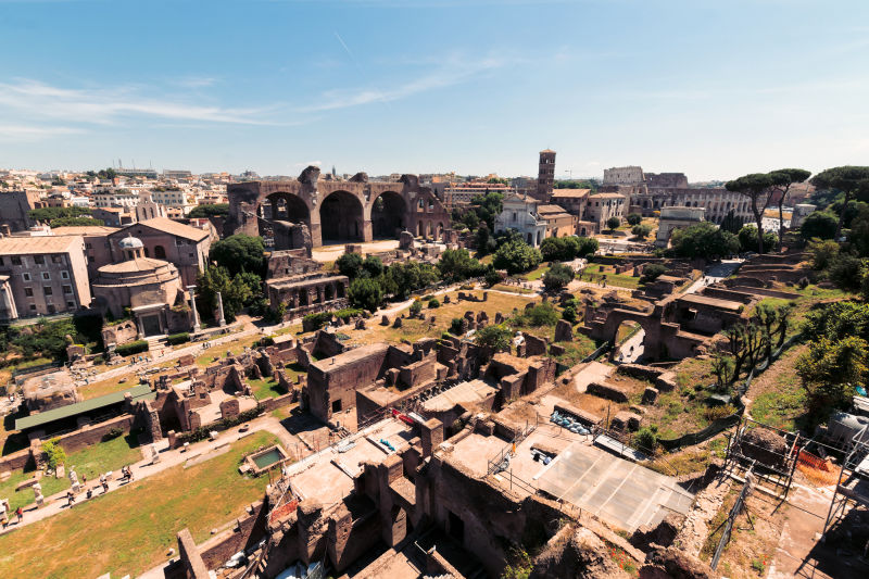 A spectacular view of the Roman Forum.