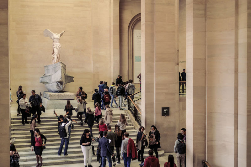 That's not just any hallway decoration, it's the Winged Victory of Samothrace.