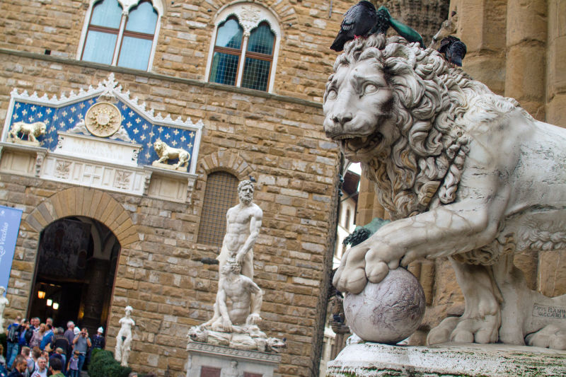 The lions are two of the most iconic statues in the Piazza della Signoria
