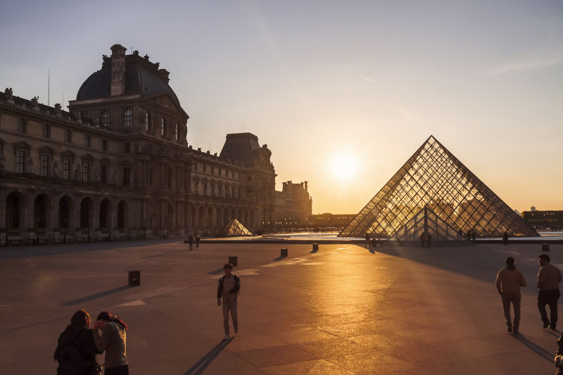 The main courtyard of the Louvre is stunning at any time of day.