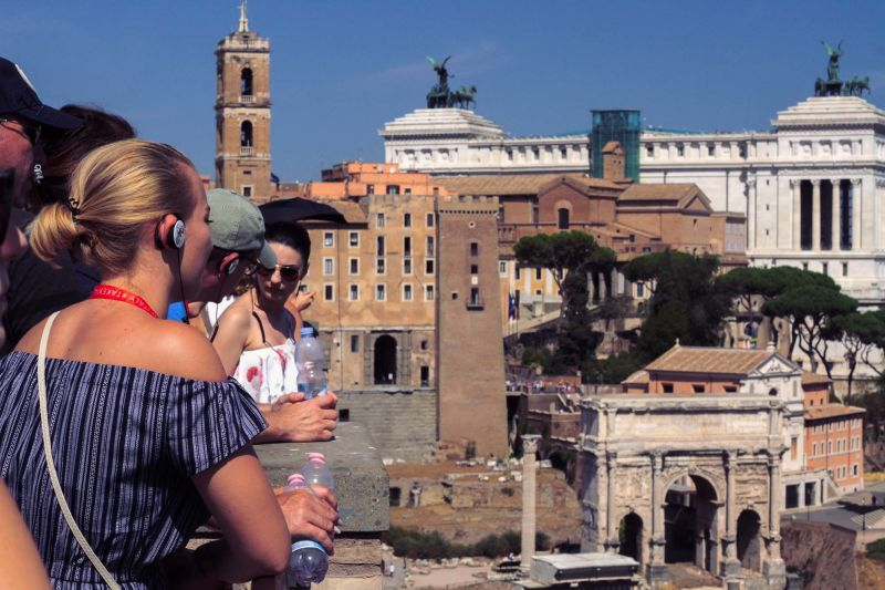 Taking in the Roman Forum from a scenic viewpoint.