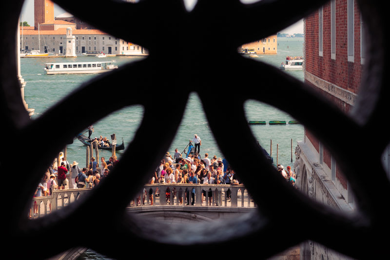 The view from inside the Bridge of Sighs.