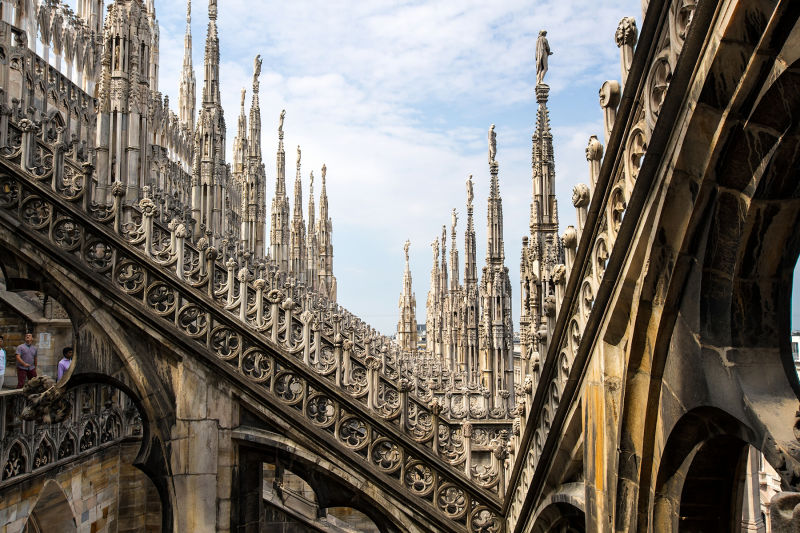 Explore the incredible architecture of the Duomo roof
