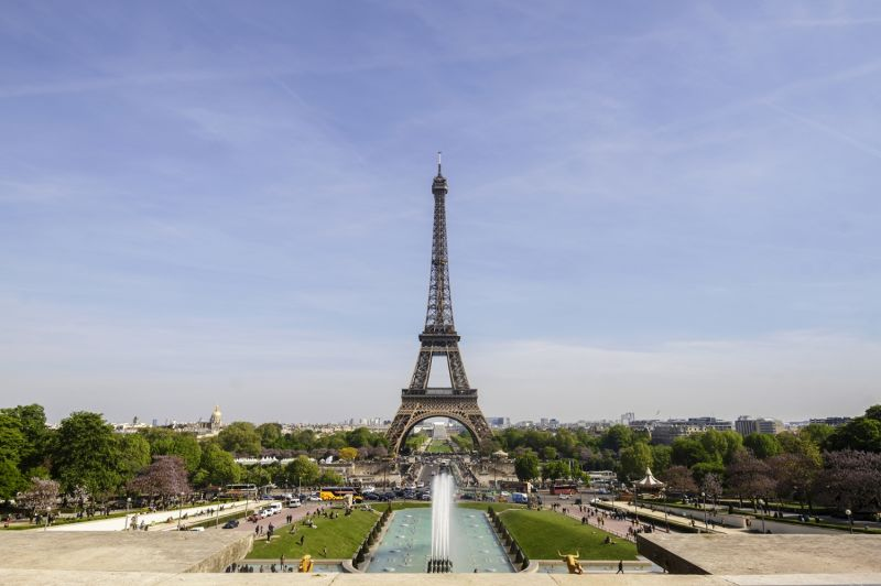 The view of the Eiffel Tower from Trocadero Plaza on our Paris In A Day Tour