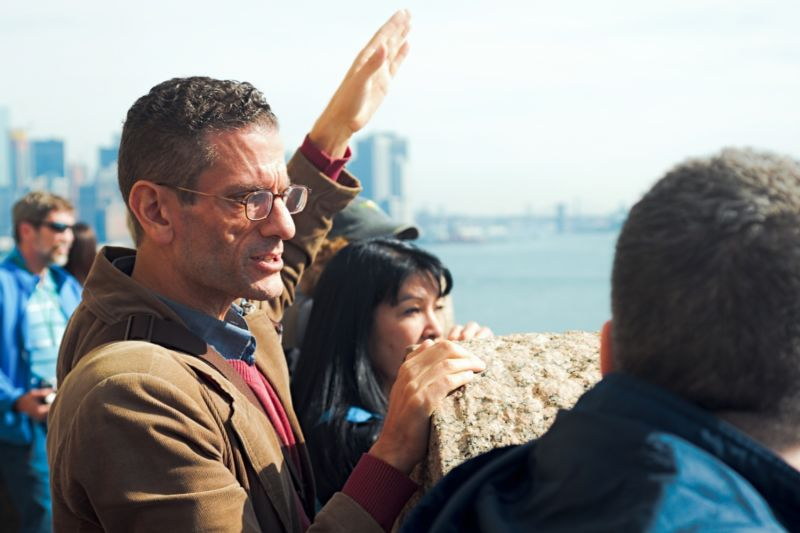 Our local guide points out the major landmarks of NYC from the Statue Pedestal