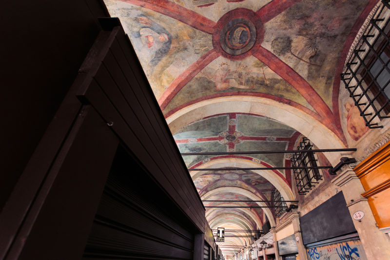 Venice is full of surprises, like this loggia with beautiful frescoes.