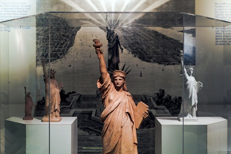 Displays in the Statue Museum, visited on your Statue of Liberty tour