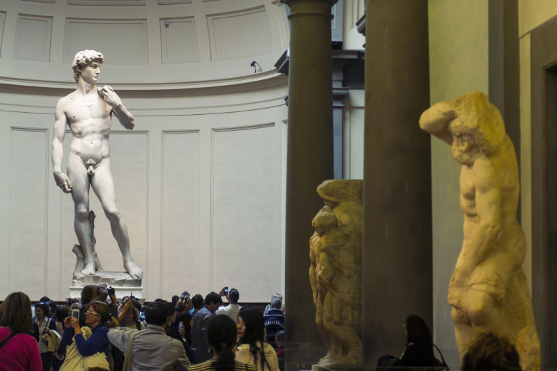 Michelangelo's David stands proudly in front of the tortured artist's unfinished 'Slaves'