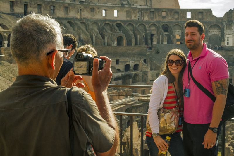 Taking pictures in the Roman Colosseum