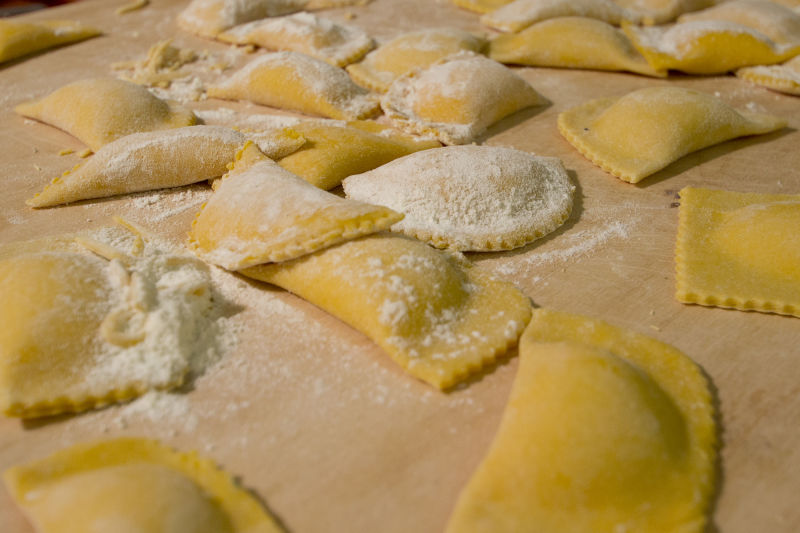 Ravioli awaiting the boiling water