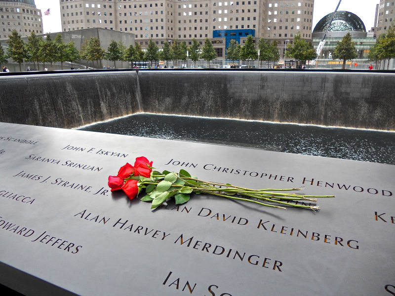 One of the memorial plaques listing the names of people killed in the 9/11 attacks