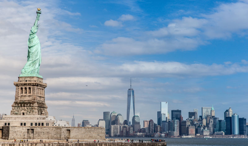 Two of America's greatest monuments, the Statue of Liberty and the One World Trade Center