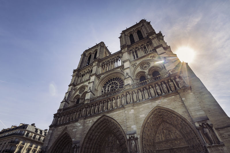 The facade of Notre Dame is one of the most iconic sights in Central Paris.
