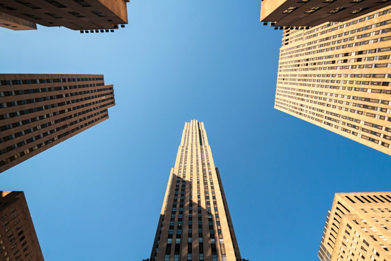 The view looking up from Rockefeller Center