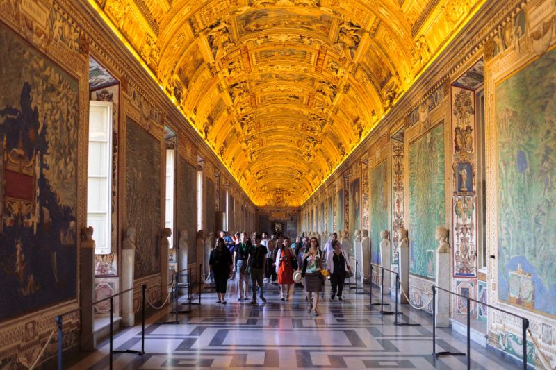 In the Vatican, the galleries themselves are part of the art.