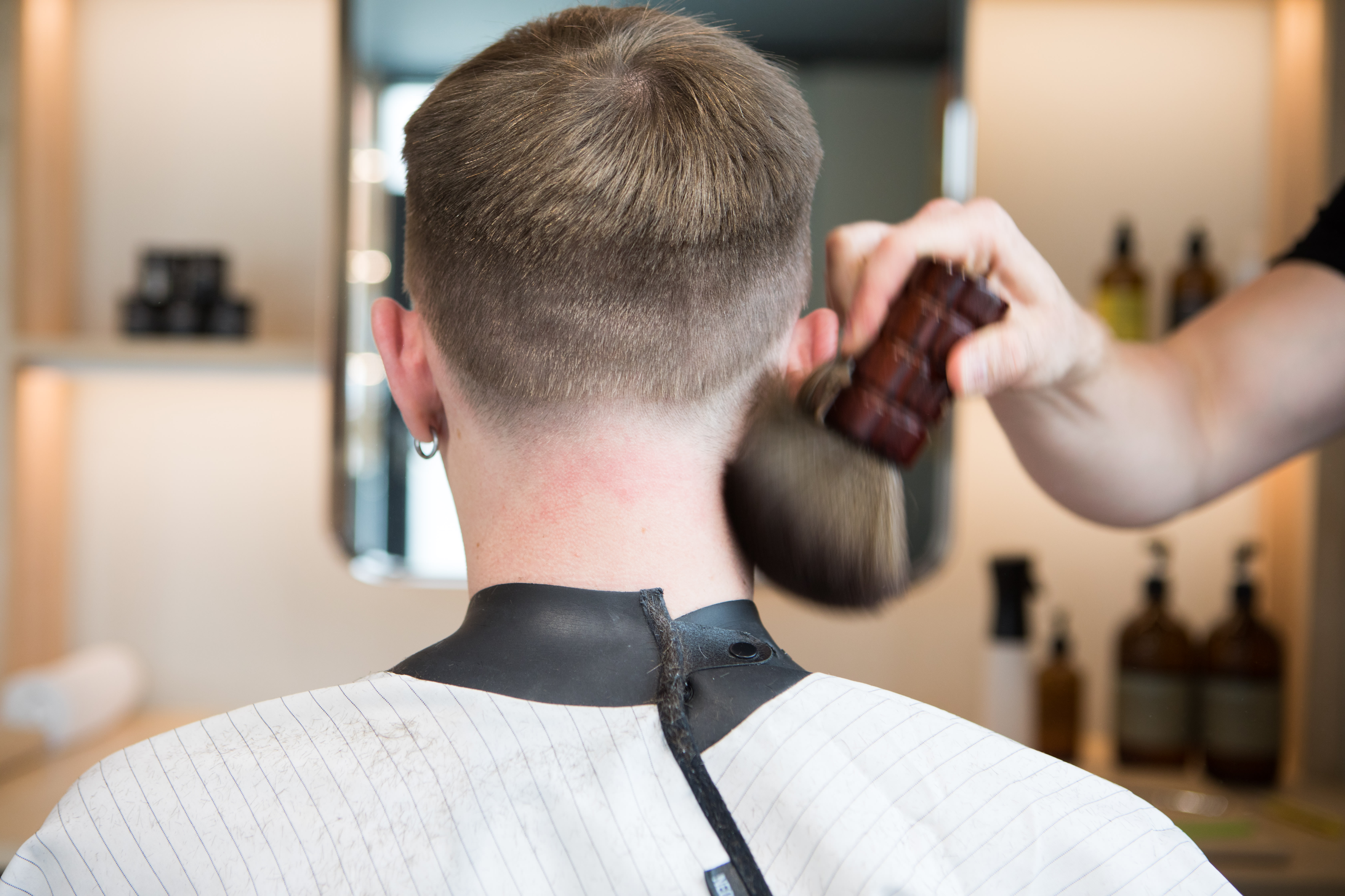 man in barber chair