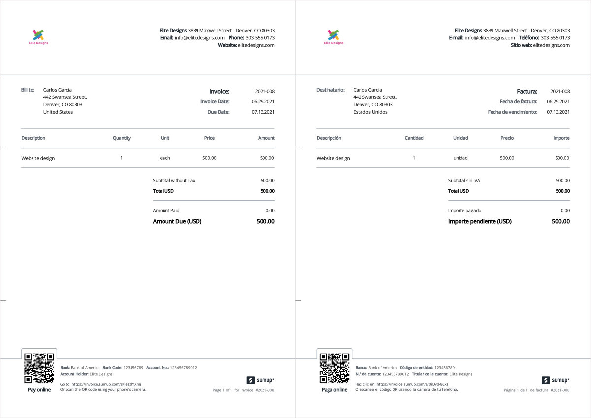 Sample translated Spanish invoice and the English equivalent. Created with SumUp Invoices.