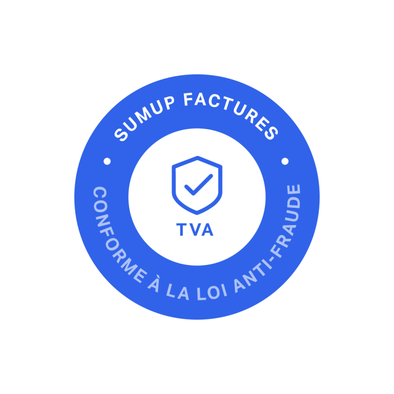 Timbre bleu de SumUp Factures certifiant que le logiciel de facturation est conforme à la loi anti-fraude à la TVA.