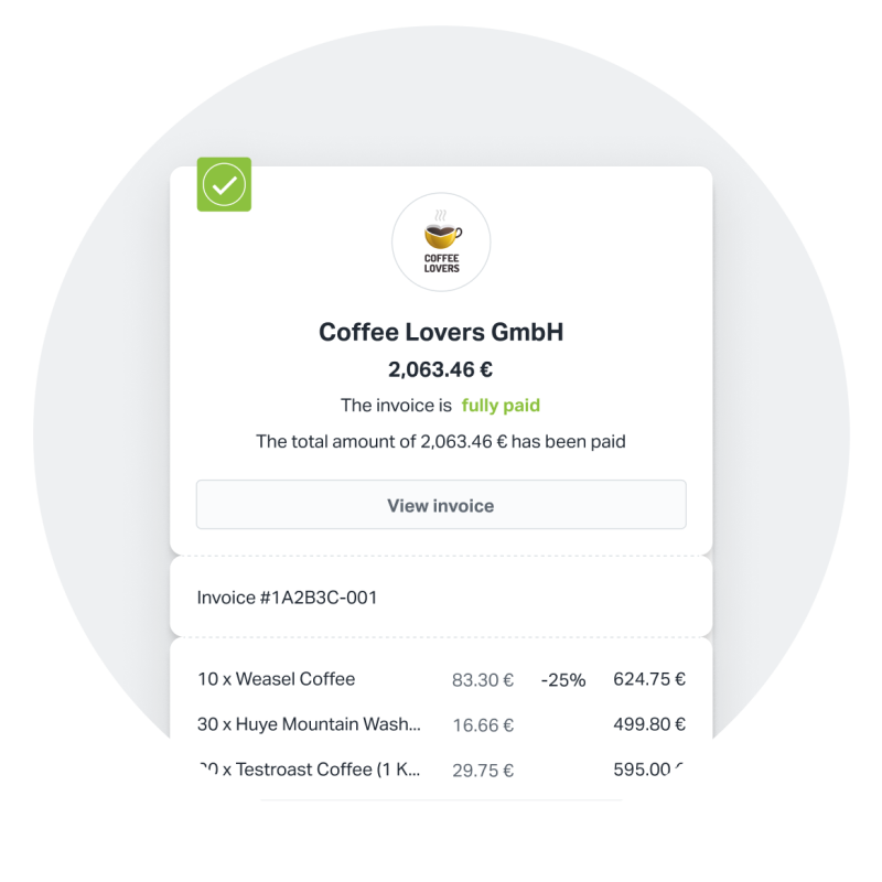 Getting paid is easy with SumUp. When you send an invoice with SumUp Invoices, it can be paid instantly online. This image shows an invoice that has been fully paid.