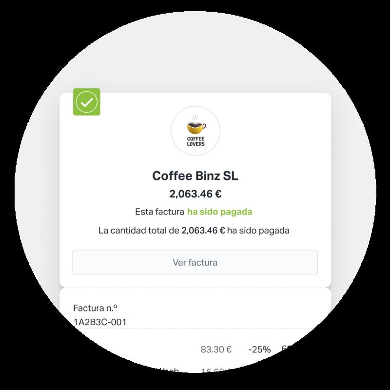 Recibir pagos es fácil con SumUp. Cuando envías una factura con SumUp Facturas, tu cliente puede pagarla online al momento. Esta imagen muestra una factura que ha sido pagada en su totalidad.