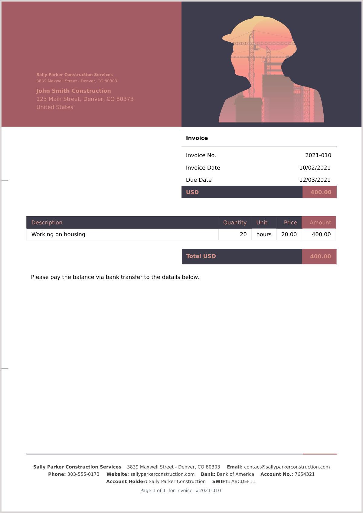 Sample construction invoice