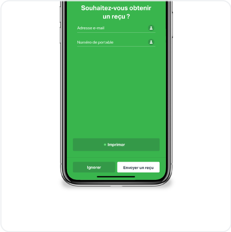 A smartphone shows a screen from the SumUp app