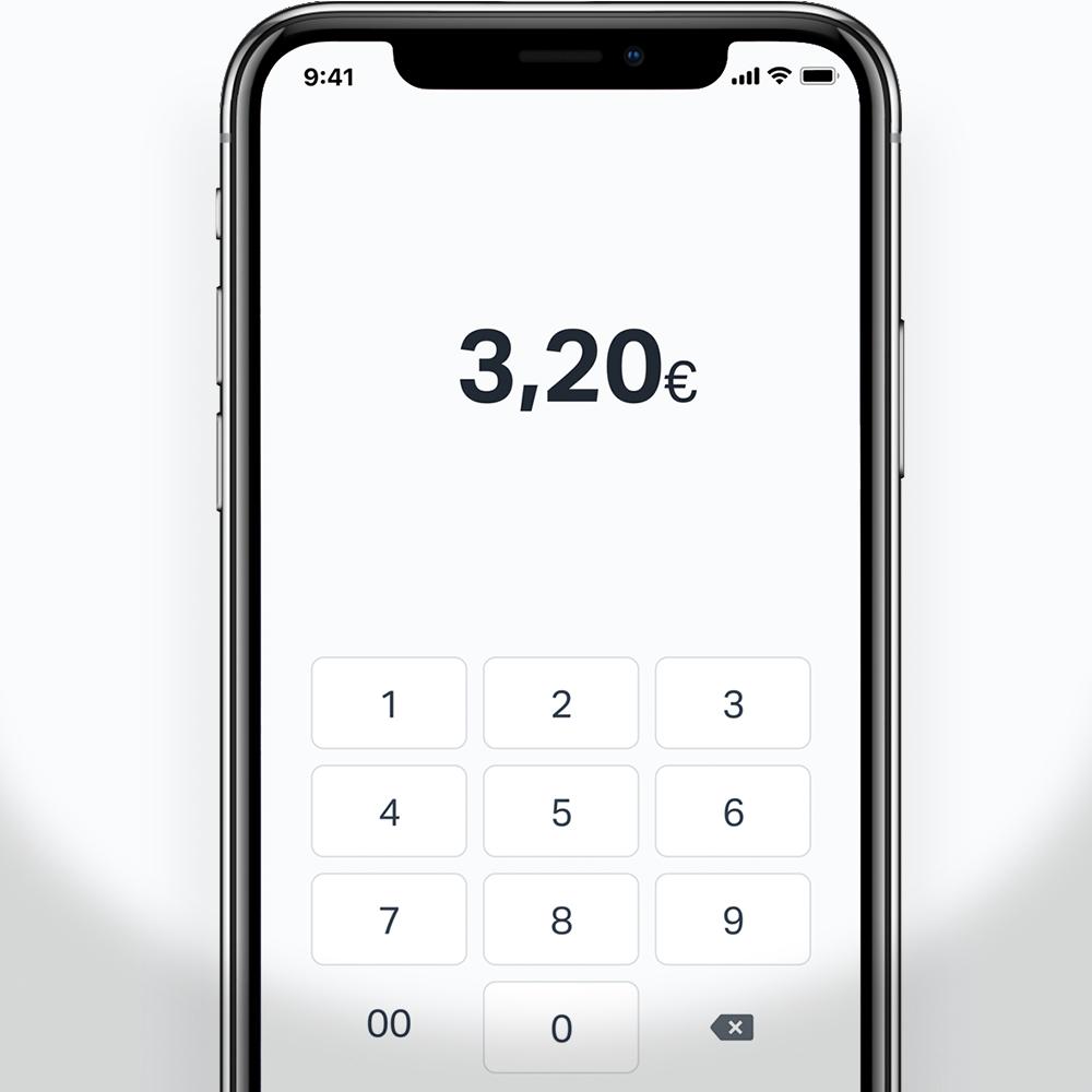 Smartphone mit einem Bildschirm aus der SumUp-App