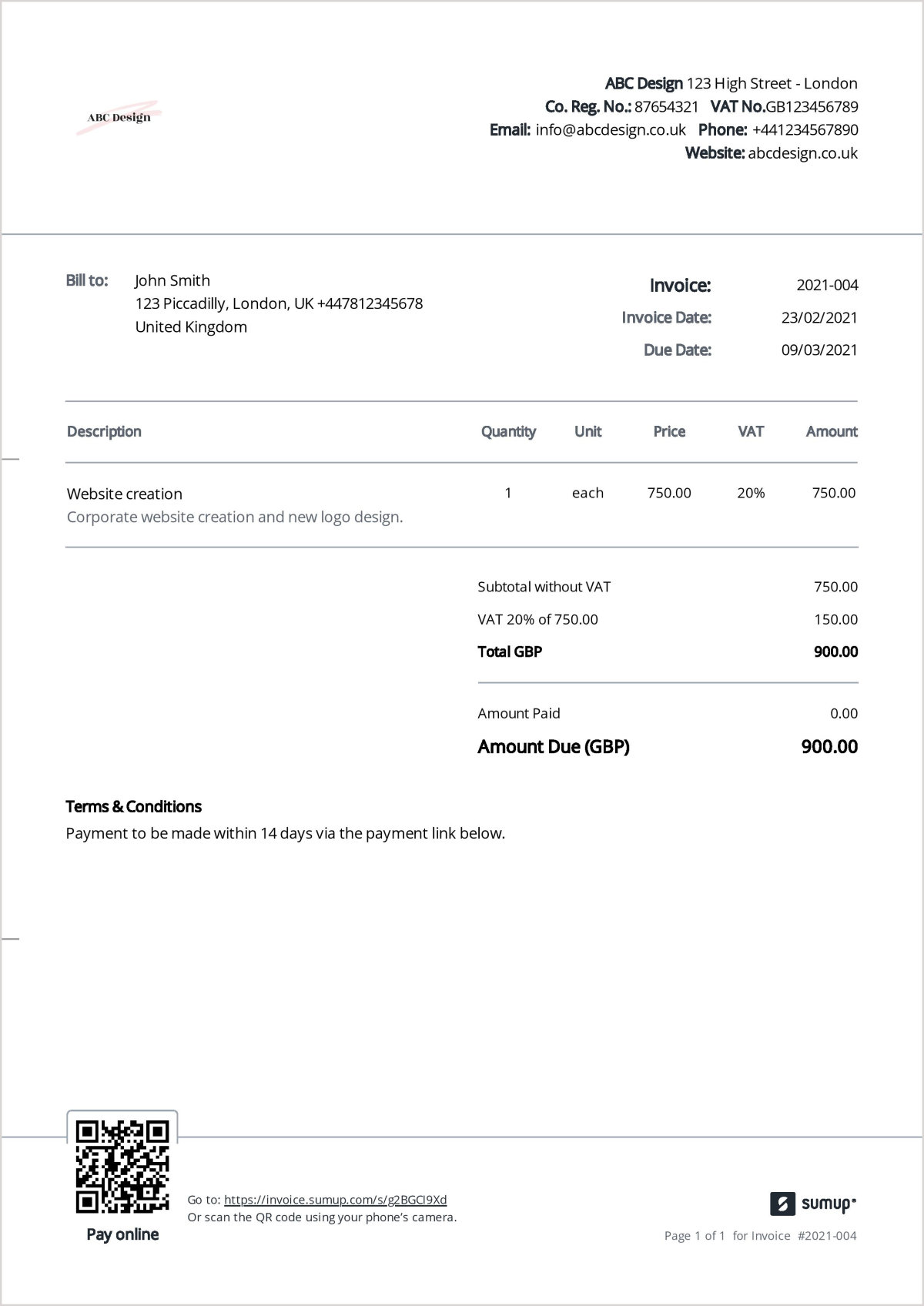 Example of a VAT invoice created using SumUp Invoices